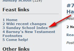 Left Nav showing Sunday School Index page